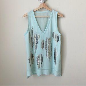 NWOT Sanctuary light blue/aqua sequin blouse /tank